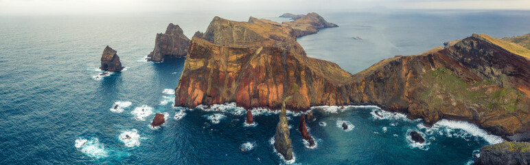 Wall Mural - Beautiful mountain landscape of Madeira island, Portugal, at sunset. Aerial view on Ponta do Sao Lorenzo.