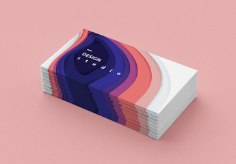 Business Card Template with Colorful Paper Cut Illustration