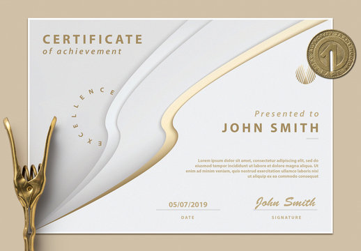 Certificate of Achievement with Abstract Cream and Gold Design