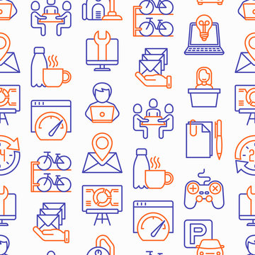 Coworking office seamless pattern with thin line icons: workplace, meeting room, conference hall, smart office, parking, reception, legal address, fast internet. Vector illustration.
