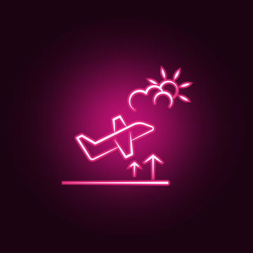 aircraft stay neon icon. Elements of travel set. Simple icon for websites, web design, mobile app, info graphics