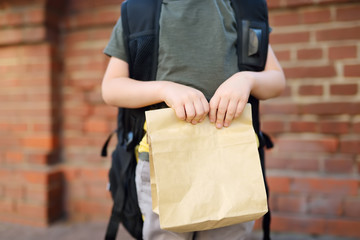 Student with big backpack and lunch bag near the school building. Hands and lunch bag close-up.