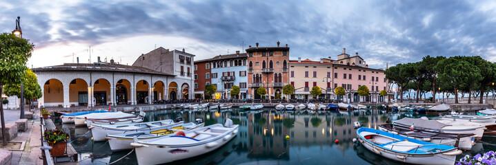 Sunset over marina at Lake Garda in Desenzano, Italy Wall mural