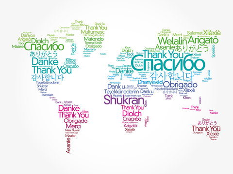 Thank You in different languages word cloud in shape of World Map, concept background