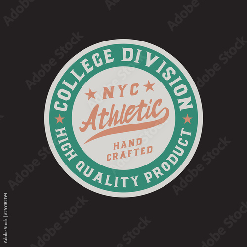 Athletic  Classic retro badge  Script and serif font