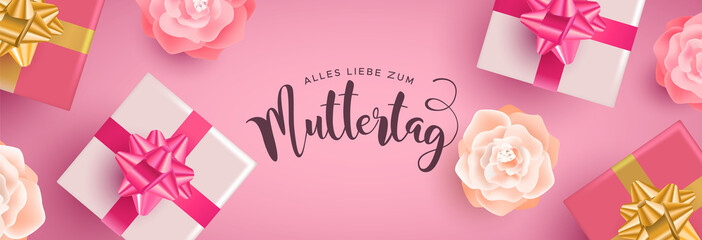 German Mothers Day banner with gifts and flowers