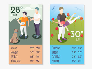 Time Together Isometric Weather App Composition Set