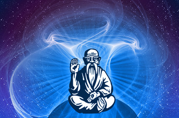 Yogi, guru with halo light on bright fantastic mystical background. Old man sitting in lotus pose on background of fantastic space stars. Conceptual symbol of wisdom, meditation and mental clarity