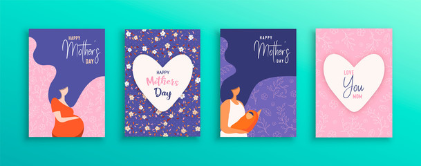 Mothers Day card set of moms with baby