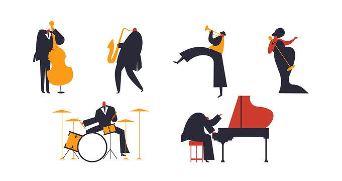Jazz band people set on white background