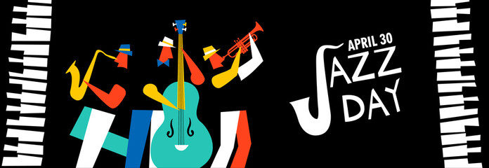 Jazz Day banner of music band in concert Fotomurales