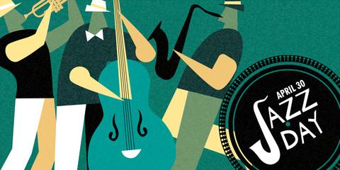 International Jazz day retro poster of live music band Fotobehang