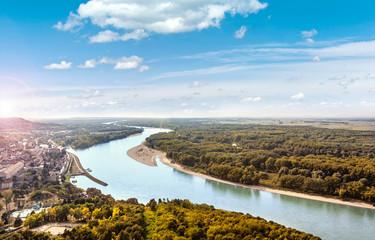 View from the Braunsberg Hainburg an der Donau along the Danube and the Nationalpark Donau-Auen