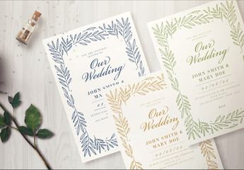 Wedding Invitation Layout with a Leaf Border