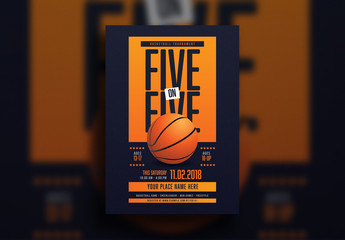 5 on 5 Basketball Tournament Flyer Layout