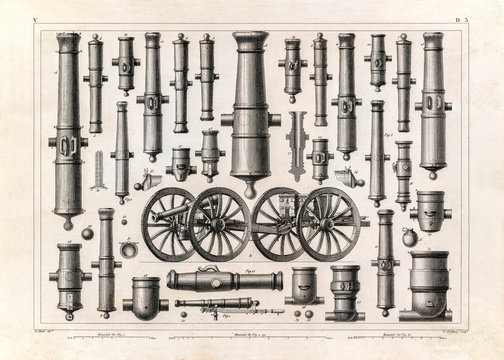 Old cannons illustration