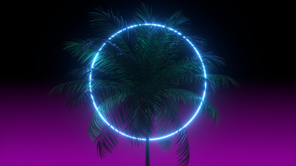 3D vaporwave render background with neon circle, palms and night violet sky. Synthwave 1980s rentowave illustration.