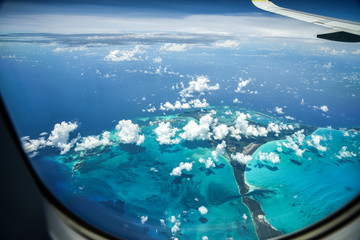 Printed roller blinds Airplane Flying over the Bahamas