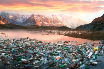 Alpine peaks and trash of civilization