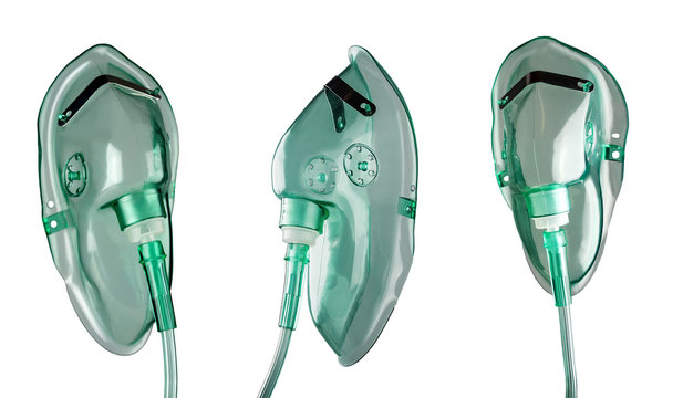 Medical oxygen masks isolated on white background.