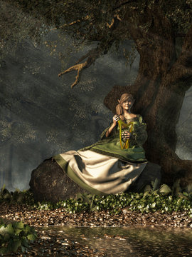 An elf woman sits upon a large rock next to a twisted oak tree by a shallow rocky stream in the woods. She wears a green and white dress. In her lap, she holds the golden harp. 3D Rendering