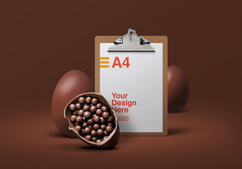 Clipboard and Chocolate Easter Eggs Mockup