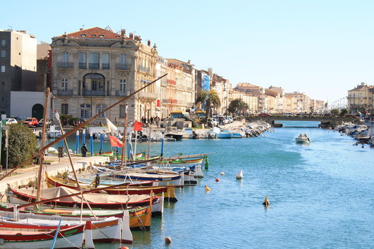Traditional boats on the royal canal in Sete, the Venice of Languedoc and the singular island in the Mediterranean sea, Herault, Occitanie, France