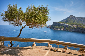 Wall Mural - Parking with a scenic view of the Port de Soller headland, Mallorca, Spain.