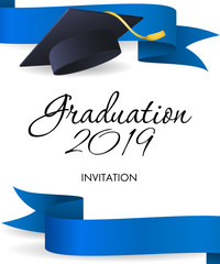 Graduation 2019 invitation design. Blue ribbons, graduation cap with gold tassel. Illustration can be used for banners, posters, commencement ceremony