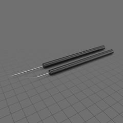 Teasing needle set