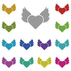 Heart, fire, wings multi color icon. Simple thin line, outline vector of valentines day icons for UI and UX, website or mobile application