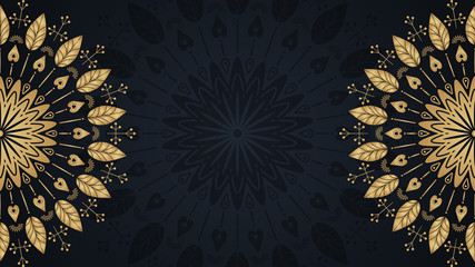 Gold mandala template background with place for text. Vector floral illustration