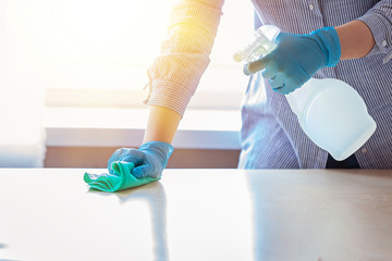 Woman in protective gloves wiping dust using a spray and a duster while cleaning her house. Wall mural