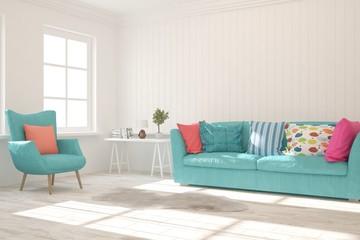White stylish minimalist room with colorful furniture. Scandinavian interior design. 3D illustration