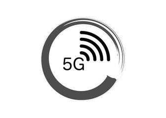 5G new wireless internet wifi connection - 5 g new generation mobile network icon, vector logo isolated or white background
