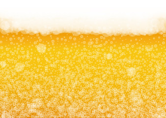 Craft beer background. Lager splash. Oktoberfest foam. pab banner design. Cold pint of ale with realistic white bubbles. Cool liquid drink for Golden mug with craft beer background.