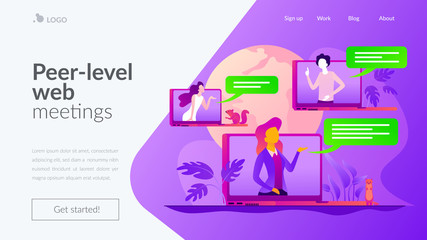 Web seminars and webcasts, peer-level web meetings, collaborative sessions and webinar concept. Website interface UI template. Landing web page with infographic concept creative hero header image.
