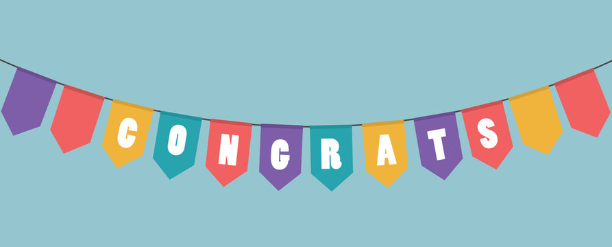 Vector illustration. Garlands with word congrats.