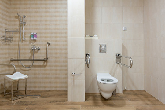 Interior of a bathroom for handicapped people