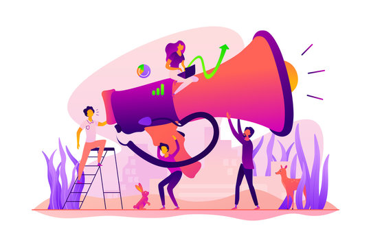Digital marketing team, marketing team metrics, marketing team lead and responsibilities concept. Vector isolated concept illustration with tiny people and floral elements. Hero image for website.
