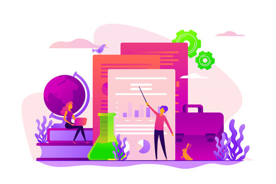 ICO investment document, startup business strategy, product development plan and white paper concept. Vector isolated concept illustration with tiny people and floral elements. Hero image for website.