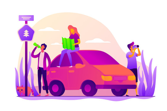 Road trip, road traveling journey, traveling by car concept. Colorful vector isolated concept illustration with tiny people and floral organic elements. Hero image for website.