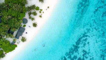 Beautiful aerial view of Maldives and tropical beach . Travel and vacation concept Wall mural