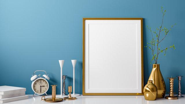 3D Rendering von leerem mockup und Foto oder Bilderrahmen vor blauer Wand als Vorlage mit Vase und Kerzenständer als Dekoration im Zimmer oder Raum zu Hause mit Textfreiraum