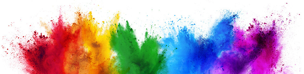 Photo sur Plexiglas Forme colorful rainbow holi paint color powder explosion isolated white wide panorama background