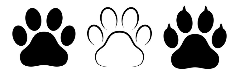 Different animal paw print vector illustrations Wall mural