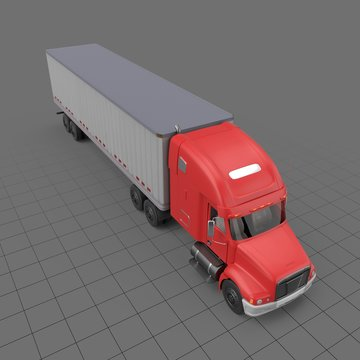 Semi truck with small trailer