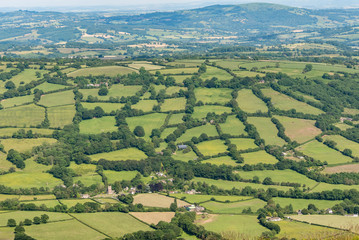 Printed kitchen splashbacks Khaki An English rural scene. It is a view of a patchwork of fields surrounded by green hedges, taken from above. The photo was taken from the Offa's Dyke Path, on the Welsh border.