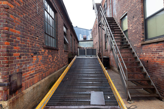 Loading dock ramp and staircase