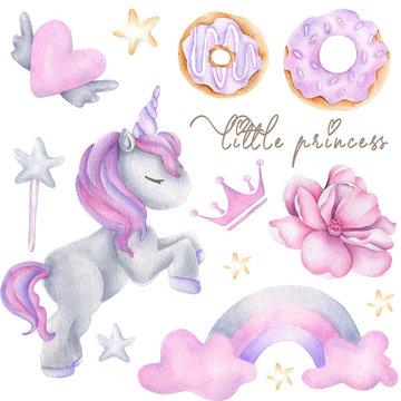 Cute watercolor girls set - Little princess